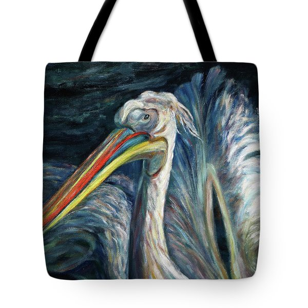 Tote Bag featuring the painting Pelican by Xueling Zou