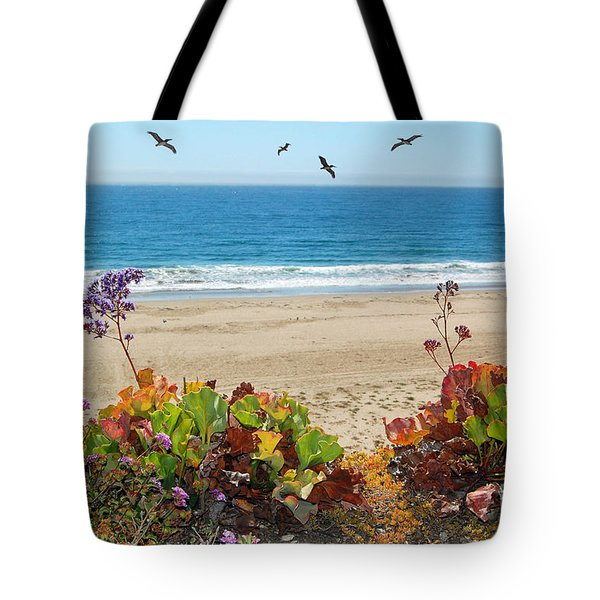 Pelicans And Flowers On Pismo Beach Tote Bag by Debra Thompson