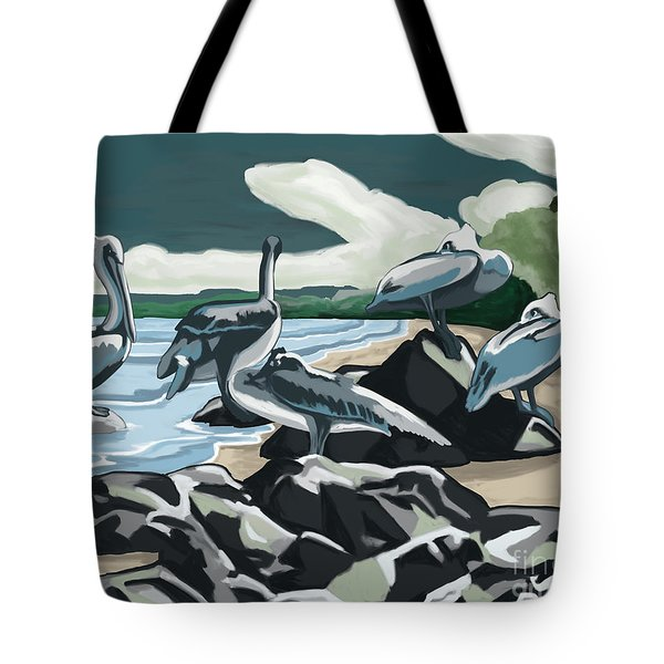 Tote Bag featuring the painting Pelicans And Friends At Seashore by Tim Gilliland