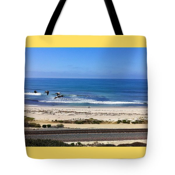 Pelicans And Rider Tote Bag