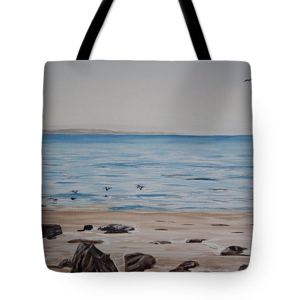 Pelicans At El Capitan Tote Bag by Ian Donley