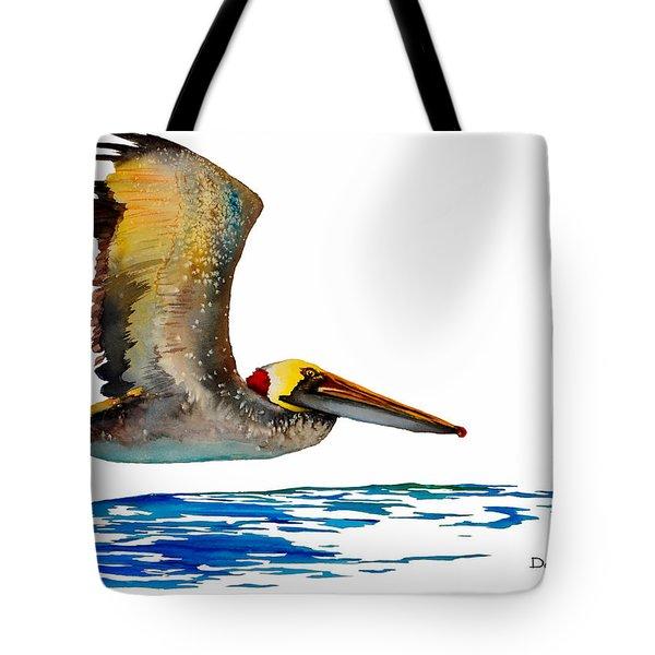 Da137 Pelican Over Water By Daniel Adams Tote Bag