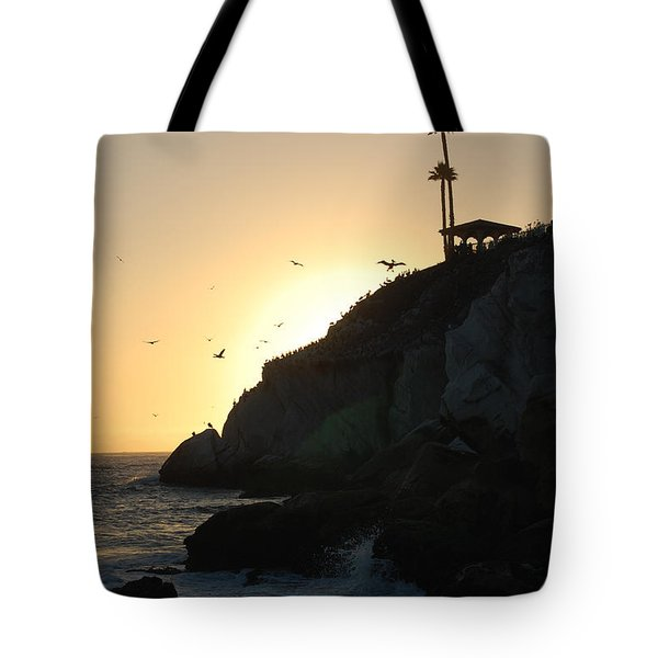 Tote Bag featuring the photograph Pelicans Gliding At Sunset by Debra Thompson
