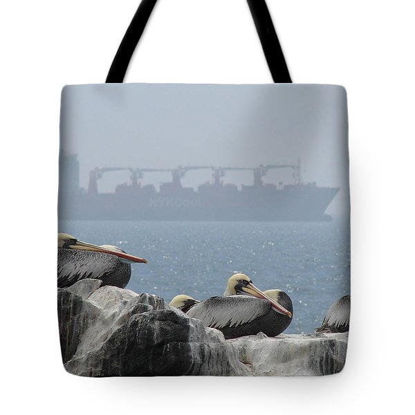 Pelicans In The Mist Tote Bag by Ramona Johnston