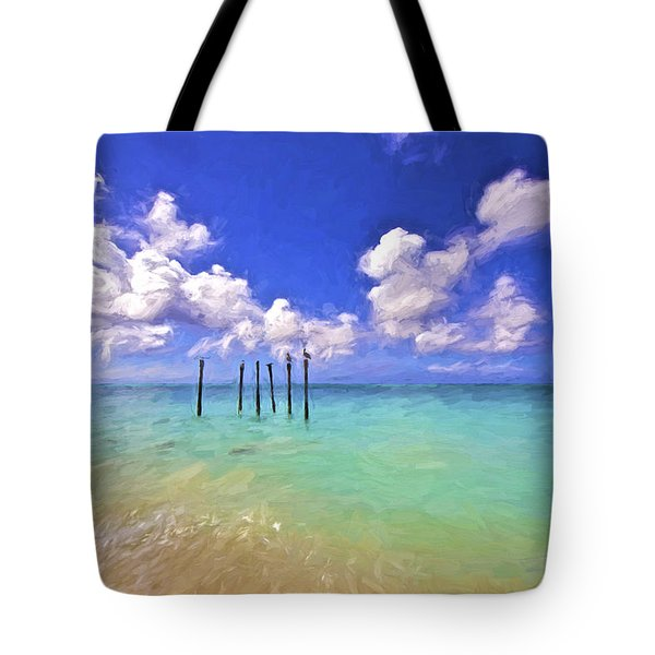 Tote Bag featuring the painting Pelicans Of Aruba by David Letts