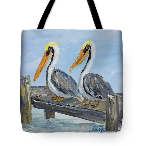 Pelicans On Deck Tote Bag