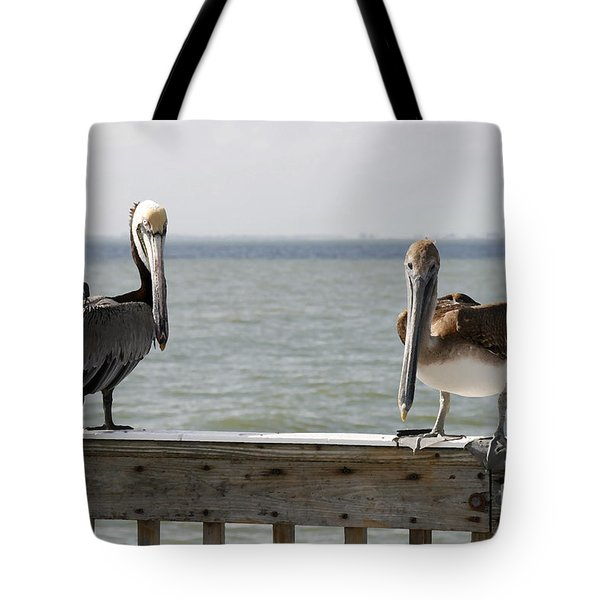 Pelicans On The Pier At Fort Myers Beach In Florida Tote Bag