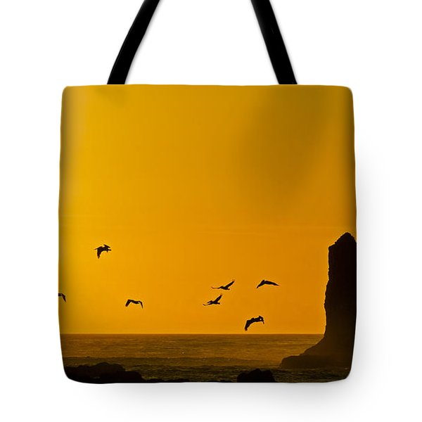 Pelicans On The Wing II Tote Bag