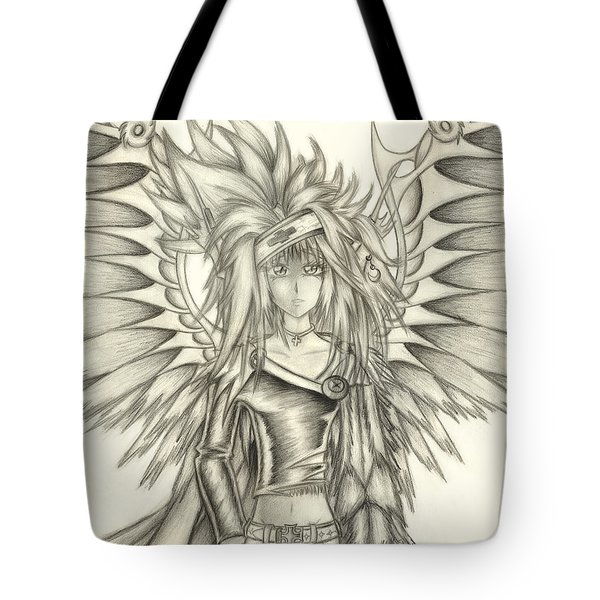 Tote Bag featuring the drawing Pelusis God Of Law And Order by Shawn Dall