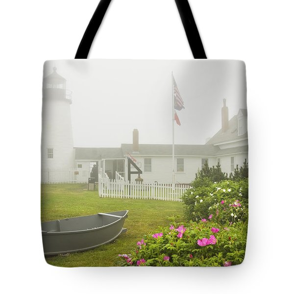 Pemaquid Point Lighthouse In Fog Maine Prints Tote Bag
