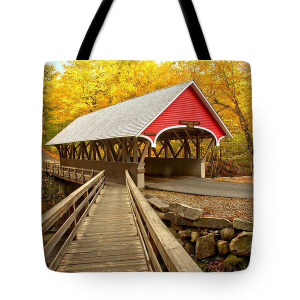 Pemigewasset River Covered Bridge Tote Bag
