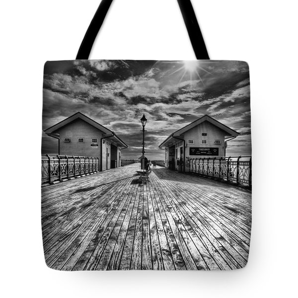 Penarth Pier 2 Monochrome Tote Bag