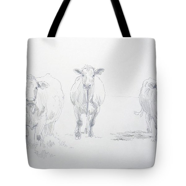 Pencil Drawing Of Three Cows Tote Bag