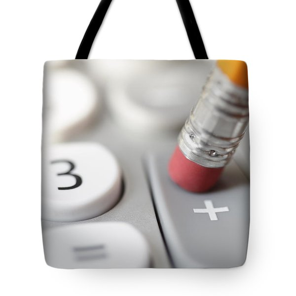 Tote Bag featuring the photograph Pencil Pushing Addition Button On Calculator by Bryan Mullennix