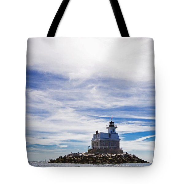 Penfield Reef Lighthouse Fairfield Connecticut Tote Bag by Stephanie McDowell