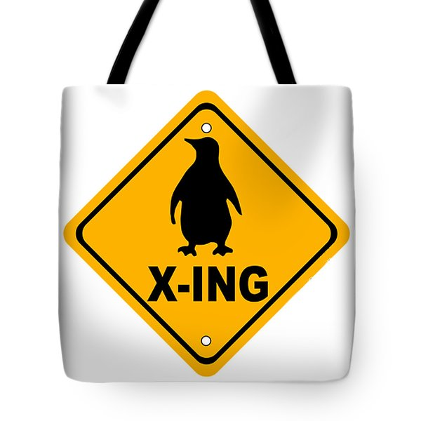 Penguin Crossing Sign Tote Bag