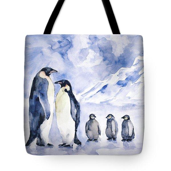 Penguin Family Tote Bag by Faruk Koksal