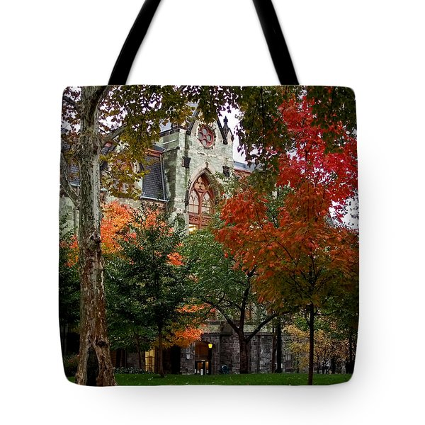 Tote Bag featuring the photograph Penn In The Rain by Rona Black