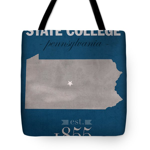 Penn State University Nittany Lions State College Pa College Town State Map Poster Series No 088 Tote Bag