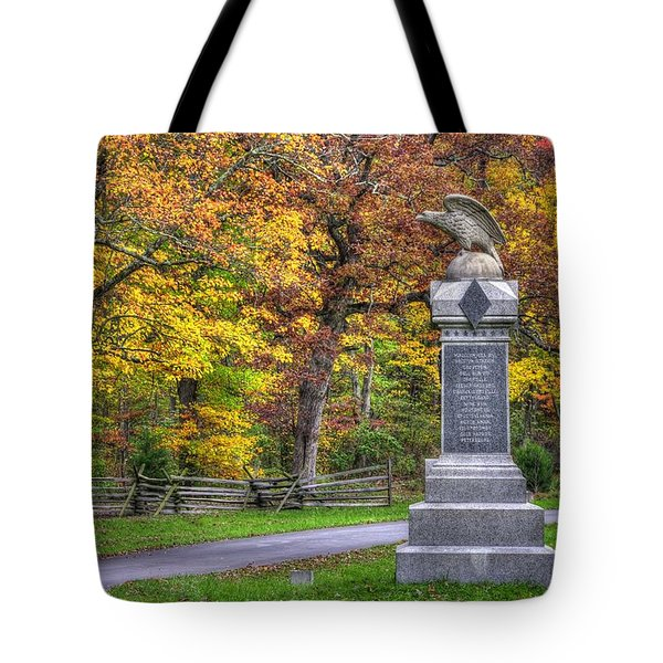 Pennsylvania At Gettysburg - 115th Pa Volunteer Infantry De Trobriand Avenue Autumn Tote Bag by Michael Mazaika