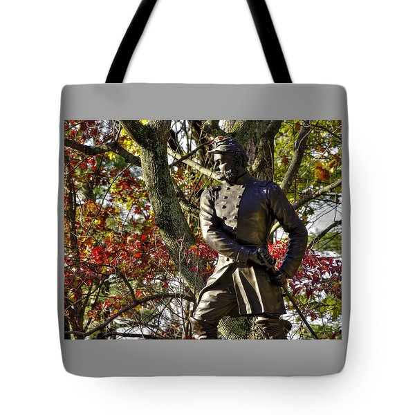 Pennsylvania At Gettysburg - Col Strong Vincent 83rd Pa Volunteer Infantry Close-2b Little Round Top Tote Bag by Michael Mazaika