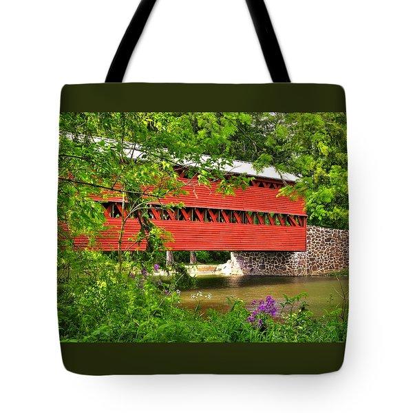 Pennsylvania Country Roads - Sachs Covered Bridge Over Marsh Creek-3b - Shade Of Spring Adams County Tote Bag