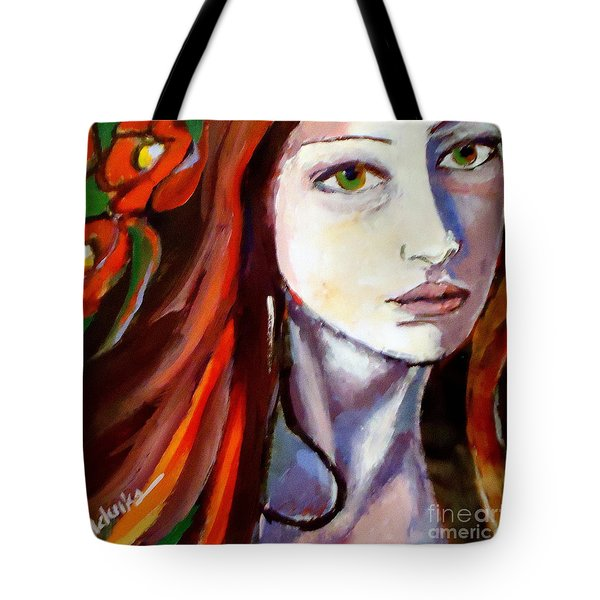 Tote Bag featuring the painting Pensive Lady by Helena Wierzbicki