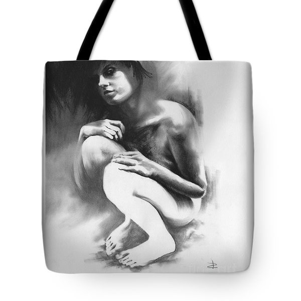 Tote Bag featuring the drawing Pensive by Paul Davenport