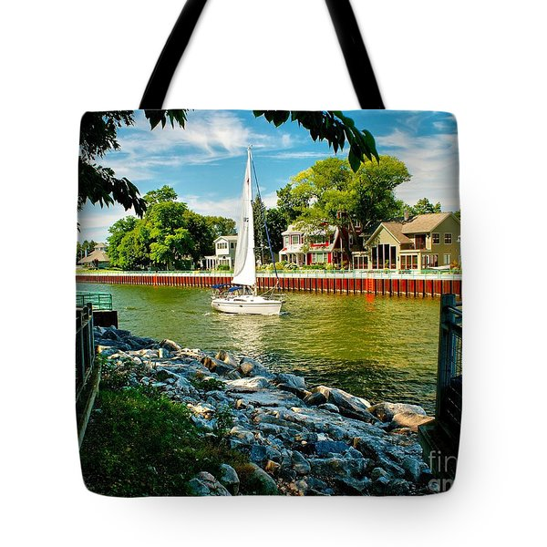 Pentwater Channel Michigan Tote Bag by Nick Zelinsky