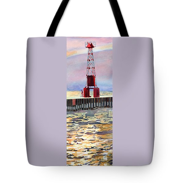 Tote Bag featuring the painting Pentwater South Pier by LeAnne Sowa