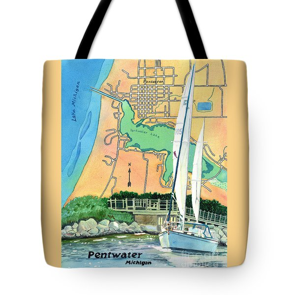 Tote Bag featuring the painting Pentwater Treasure Map by LeAnne Sowa