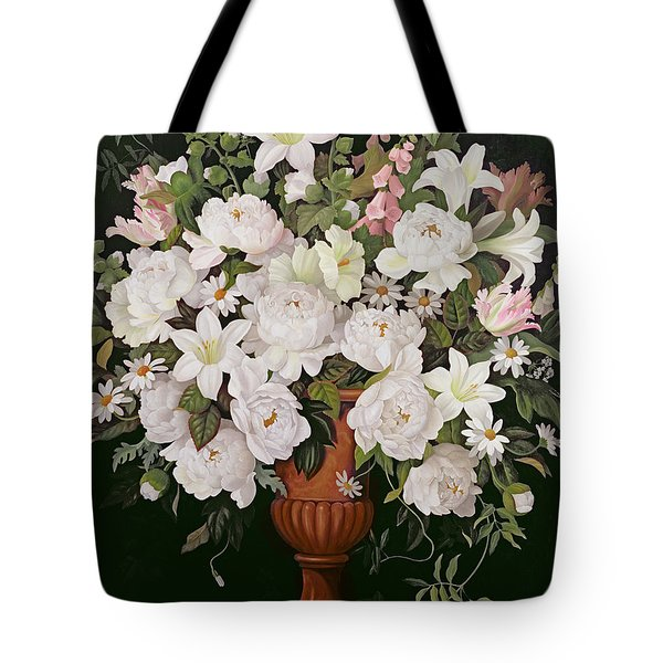 Peonies And Wisteria Tote Bag by Lizzie Riches