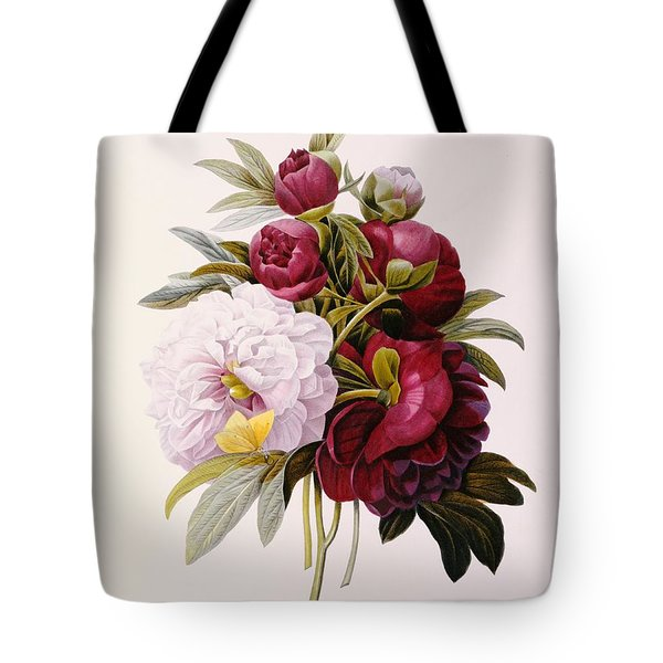 Peonies Engraved By Prevost Tote Bag by Pierre Joseph Redoute