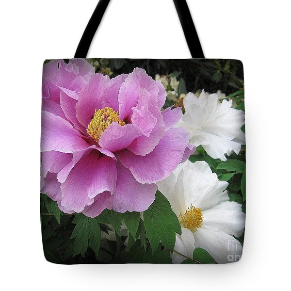 Peonies In White And Lavender Tote Bag by Dora Sofia Caputo Photographic Art and Design