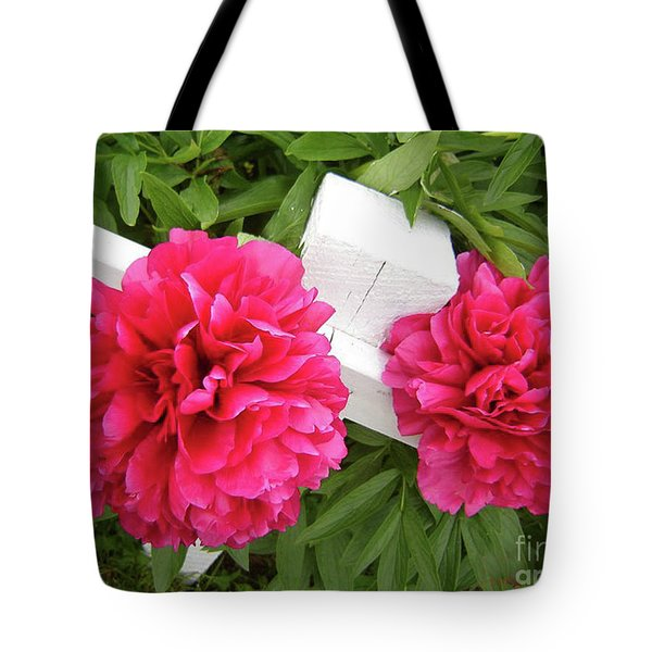 Peonies Resting On White Fence Tote Bag by Barbara Griffin