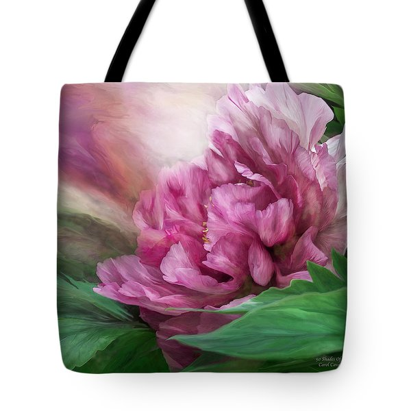 Tote Bag featuring the mixed media Peony - 50 Shades Of Pink by Carol Cavalaris
