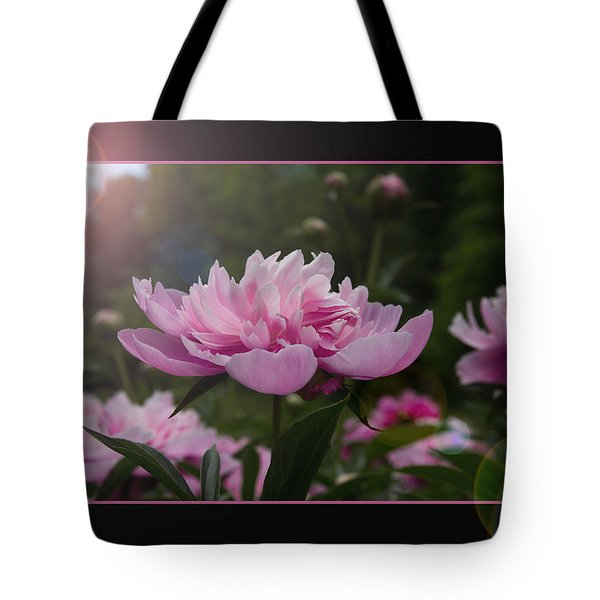 Tote Bag featuring the photograph Peony Garden Sun Flare by Patti Deters