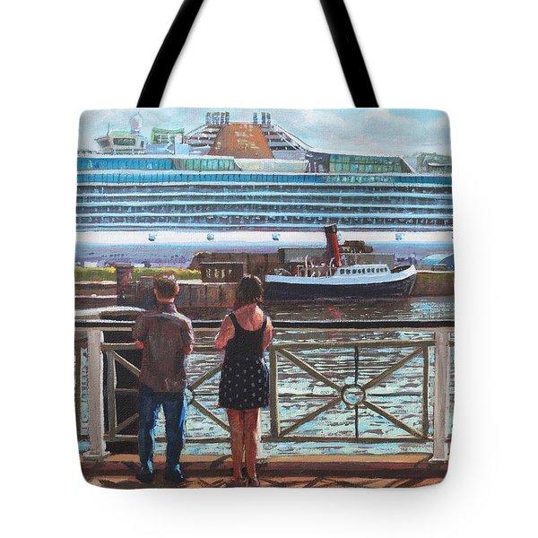 People At Southampton Eastern Docks Viewing Ship Tote Bag