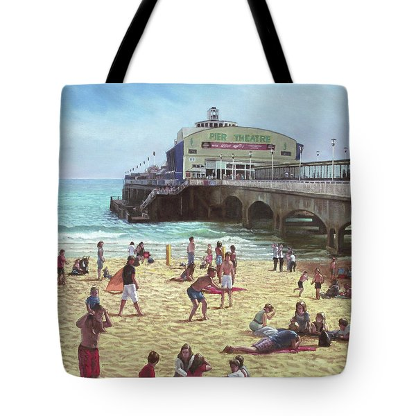 people on Bournemouth beach Pier theatre Tote Bag