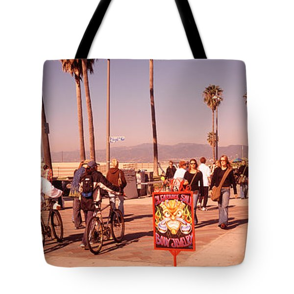 People Walking On The Sidewalk, Venice Tote Bag by Panoramic Images