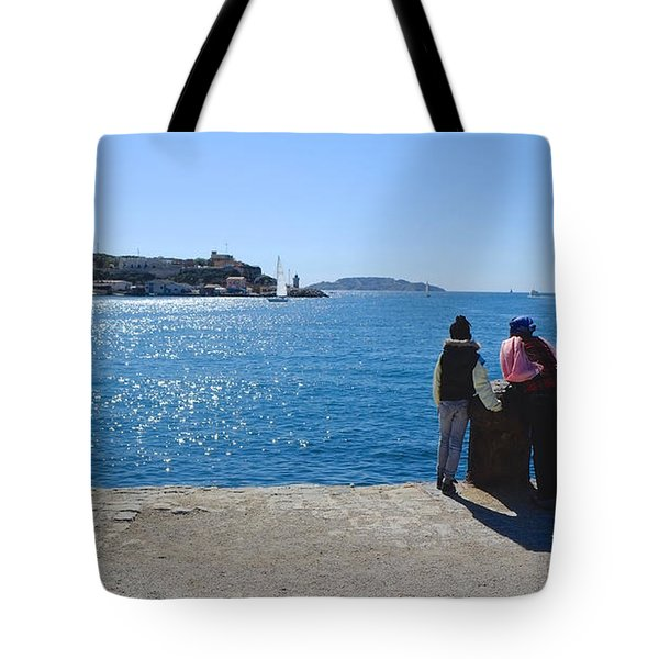 Family Watching The Sea  Tote Bag