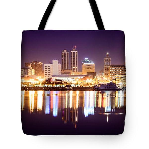 Peoria Illinois At Night Downtown Skyline Tote Bag by Paul Velgos