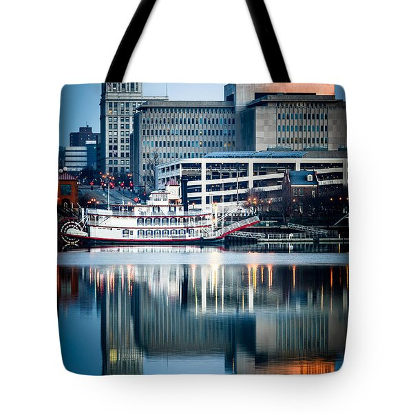 Peoria Illinois Cityscape And Riverboat Tote Bag by Paul Velgos