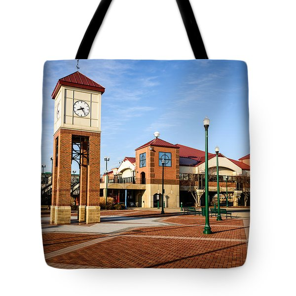 Peoria Illinois Riverfront Businesses And Clock Tower Tote Bag by Paul Velgos