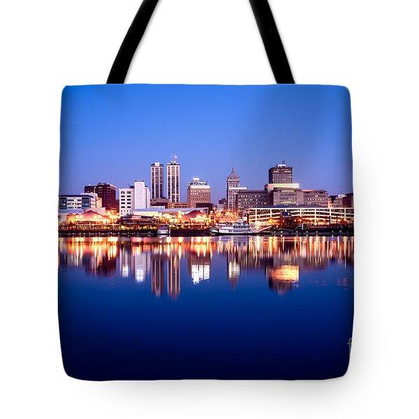 Peoria Illinois Skyline At Night Tote Bag by Paul Velgos