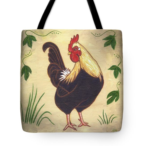 Pepper The Rooster Tote Bag by Linda Mears