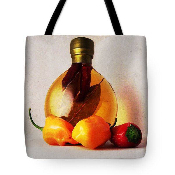 Peppers And Oil Tote Bag by Shawna Rowe