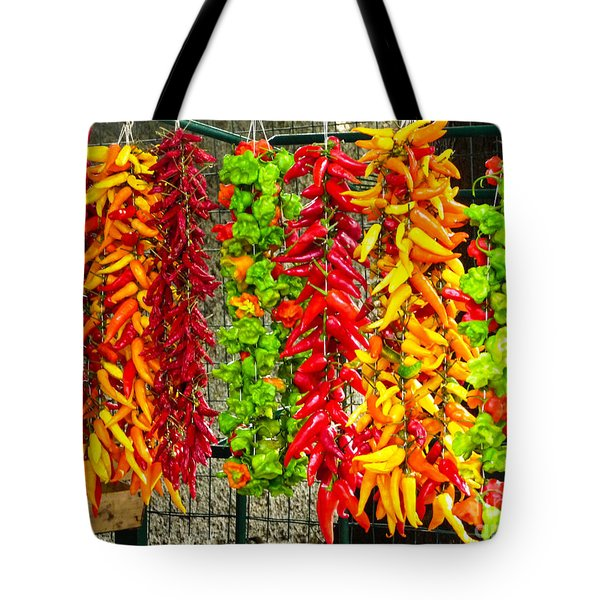 Peppers For Sale Tote Bag by Mike Ste Marie