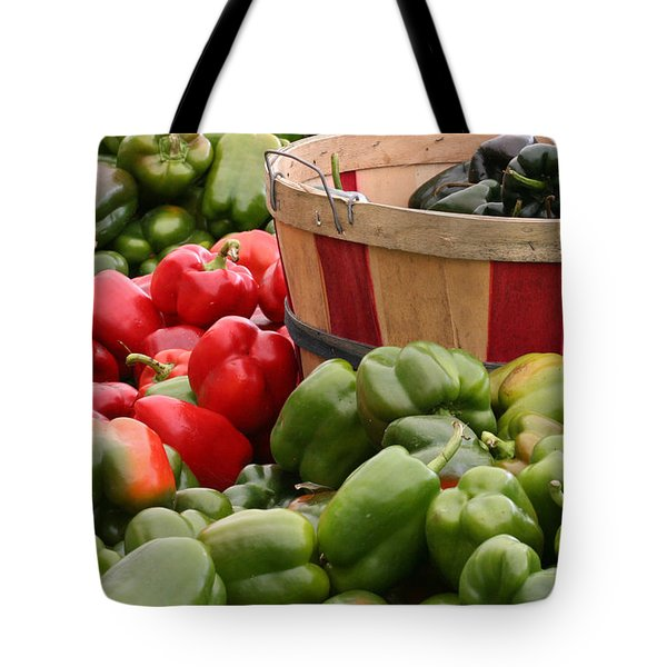 Tote Bag featuring the photograph Peppers by Mariarosa Rockefeller