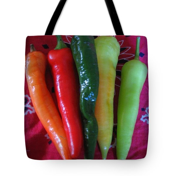 Peppers On Red Bandana Tote Bag